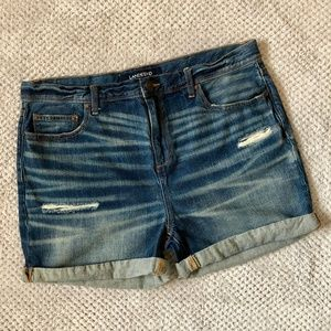 Lands End Blue Jean Shorts with distress Size 16